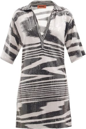 Women Casual Dresses - Missoni - Sequinned Space-dyed Stripe Polo Mini Dress - Womens
