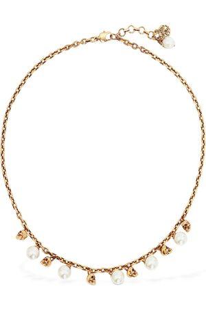 Alexander McQueen Crystal Pearl & Skull Short Necklace