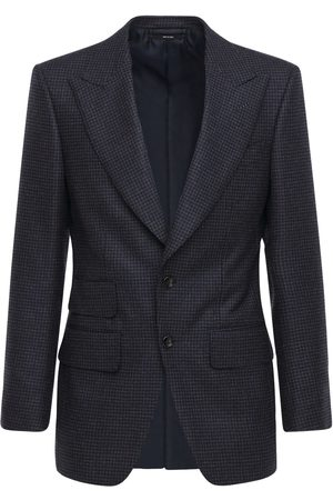 Tom Ford Men Blazers - Single Breast Houndstooth Wool Blazer