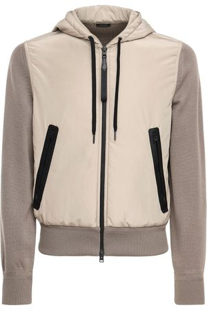 Tom Ford Men Jackets - Hooded Nylon & Wool Knit Jacket