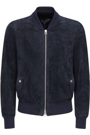 Tom Ford Men Leather Jackets - Light Suede Bomber Jacket
