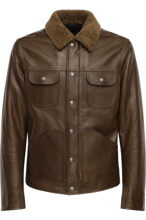 Tom Ford Shiny Leather Jacket W/ Shearling Collar