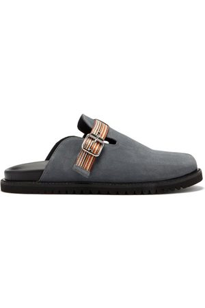 Paul Smith Mesa Buckled-strap Suede Slides - Mens - Grey