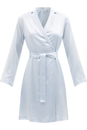 La Perla Notch-lapel Silk-charmeuse Robe - Womens - Light