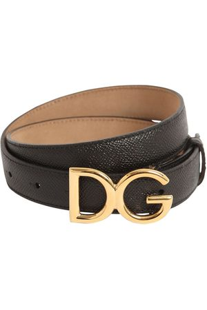 Dolce & Gabbana 25mm Dg Logo Grained Leather Belt