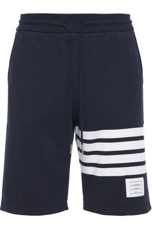 Thom Browne Men Shorts - Intarsia Stripes Cotton Jersey Shorts