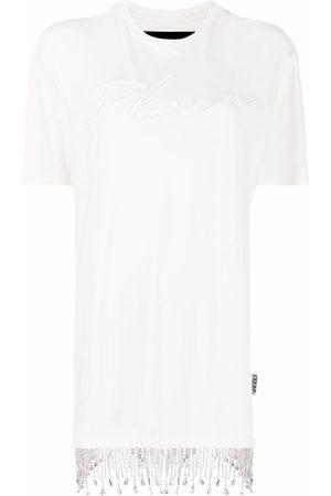 Philipp Plein Crystal fringe T-shirt dress - Neutrals