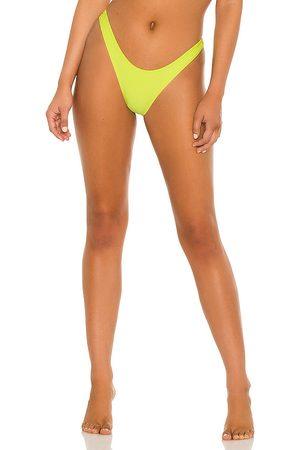 Frankies Bikinis Boots Ribbed Bikini Bottom in Yellow.