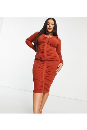 ASOS ASOS DESIGN Curve shirt ruched front midi dress in rust