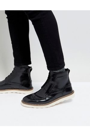ASOS ASOS Brogue Boots In Leather With Contrast Sole