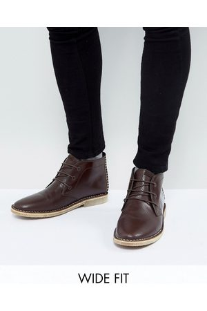 ASOS ASOS Wide Fit Desert Boots In Leather With Perforated Detail