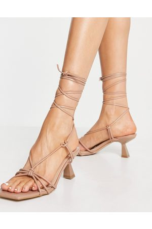 SIMMI Shoes Simmi London Paola ankle tie heeled sandals in -Neutral