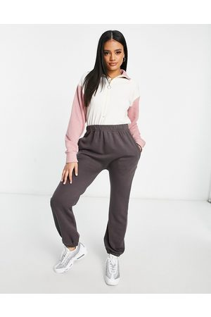 I saw it first High neck color block jumpsuit in charcoal and pink-Grey