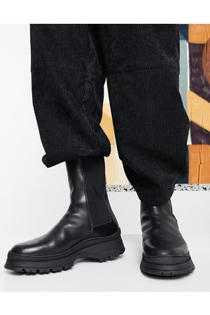 ASOS Chelsea calf boots with padded collar in leather on chunky sole