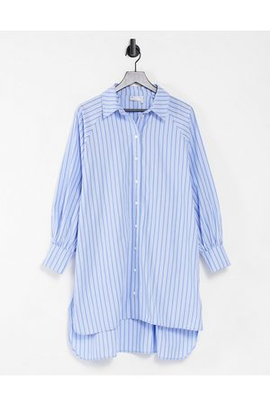 ASOS Women Casual Dresses - Oversized boyfriend mini shirt dress in white blue stripe-Multi