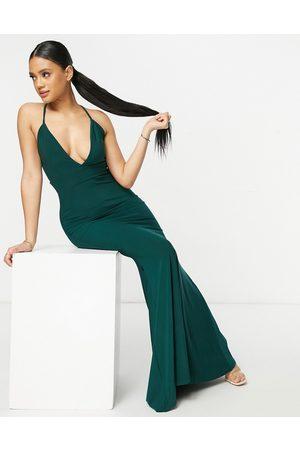 Club L Women Casual Dresses - Plunge cross back fishtail maxi dress in
