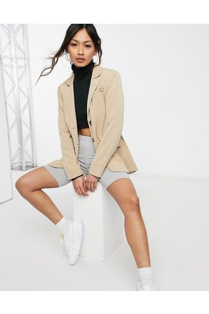 Fashion Union Women Blazers - Relaxed fit longline blazer with pocket detail - part of a set-Neutral