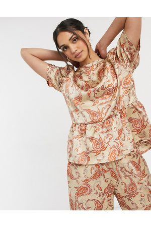 VILA Matching blouse with sleeve detail in silky paisley print-Multi