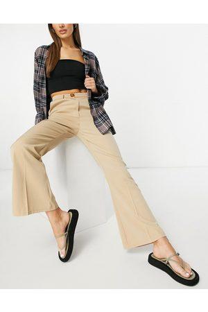 Fashion Union High waist kick flare tailored pants set-Neutral