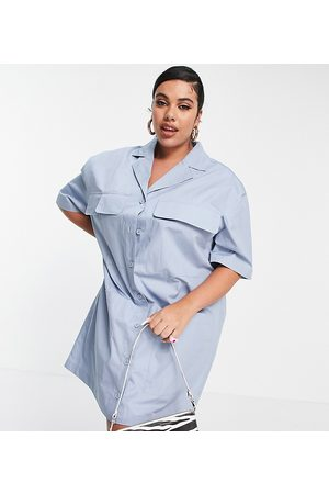 COLLUSION Plus revere mini shirt dress in blue-Blues
