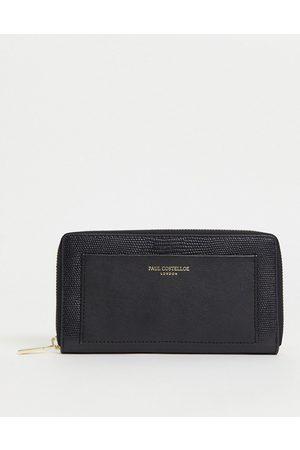 Paul Costelloe Women Wallets - Leather zip around wallet in black lizard mix-Multi