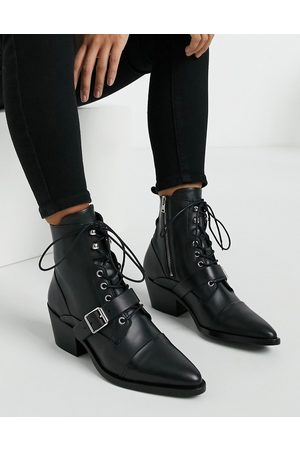 AllSaints Katy lace up heeled leather boots with buckle in
