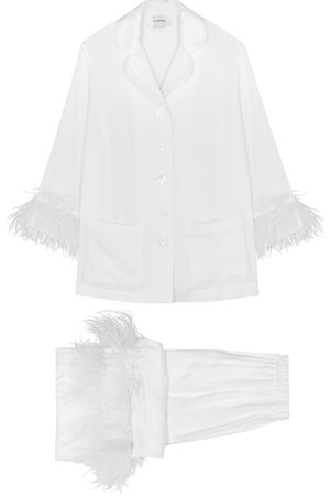 Sleeper Party feather-trimmed pyjama set