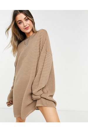 In The Style X Megan McKenna knitted slouch off shoulder dress in taupe-Neutral
