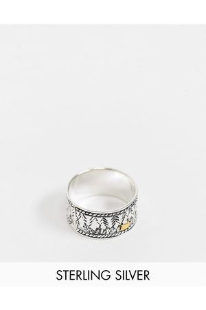ASOS Sterling silver band ring with forest landscape design in silver