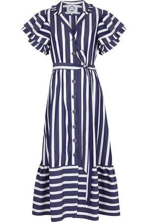 Evi Grintela Navy striped cotton shirt dress