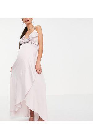 Little Mistress Ruffle wrap midaxi satin dress in blush