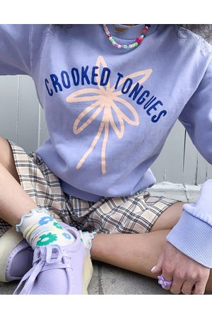 Crooked Tongues Crew neck sweatshirt with print in washed lilac