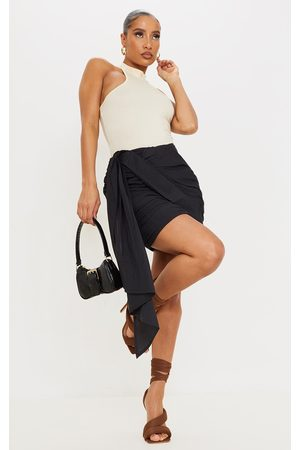 PRETTYLITTLETHING Ruched Drape Front Linen Look Mini Skirt
