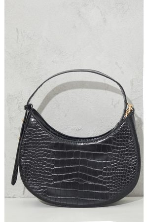 PRETTYLITTLETHING Croc Crescent Mixed Chain Strap Shoulder Bag