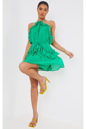 PRETTYLITTLETHING Bright Printed Frill Detail Strappy Shift Dress