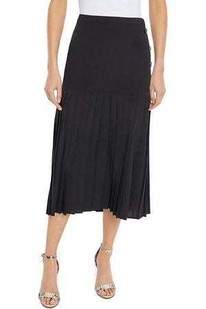 Misook Pleated Drop Waist Midi Skirt