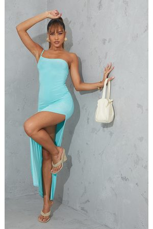 PRETTYLITTLETHING Aqua One Shoulder Slinky Maxi Dress