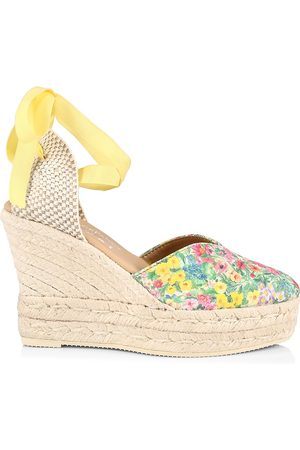 MANEBI Women Platforms - Women's Loveshackfancy x Ankle-Tie Floral Suede Platform Espadrilles - Floral Multi - Size 6