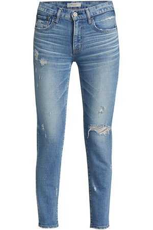 Moussy Women's Gleedsville Distressed Skinny Jeans - Light - Size 0