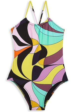 Vilebrequin Girls Swimsuits - Little Girl's & Girl's 1984 Invisible Fish Abstract-Print One-Piece Swimsuit - Noir - Size 14