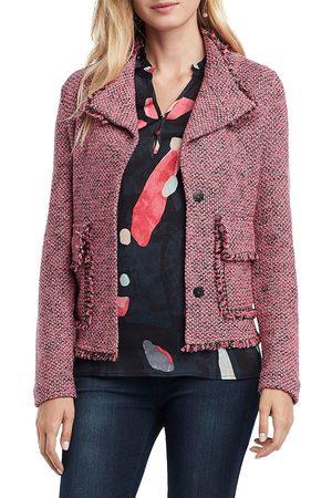 NIC+ZOE Women Jackets - Women's Favorite Fringe Jacket - Bright Coral - Size Petite Large