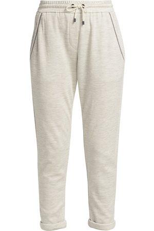 Brunello Cucinelli Women's Cropped Joggers - Pearl Grey - Size XXL