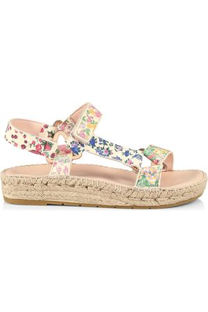 MANEBI Women Espadrilles - Women's Loveshackfancy x Floral Leather Espadrille Sport Sandals - Mixed Flowers - Size 11