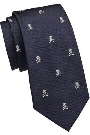 Ralph Lauren Men Neckties - Men's Skull Crossbones Silk Tie - Navy Skull
