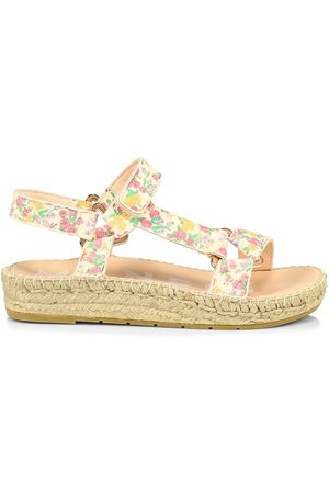 MANEBI Women Espadrilles - Women's Loveshackfancy x Floral Leather Espadrille Sport Sandals - Fruity Punch - Size 10