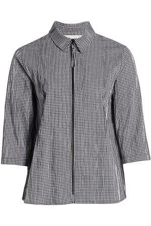 Caroline Rose Women Shirts - Women's Crinkle Gingham Zip Shirt - - Size XXL