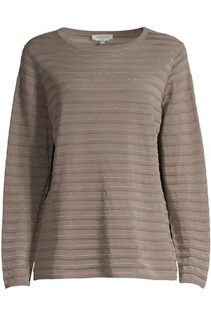 Lafayette 148 New York Women's Sheer Yoke Stripe Long-Sleeve T-Shirt - Mink Grey Multi - Size XL