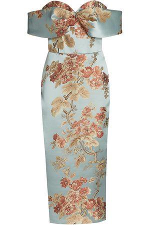 Rasario Women Strapless Dresses - Women's Off-The-Shoulder Floral Jacquard Cocktail Dress - Light Floral - Size 6