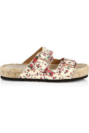 MANEBI Women's Loveshackfancy x Nordic Floral Leather Espadrille Slides - Berry Cherry - Size 8 Sandals