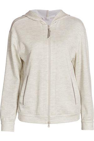 Brunello Cucinelli Women's Zip-Front Hoodie - Pearl Grey - Size XXL